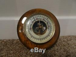 Antique Glossed Oak Circular Gischard Barometer Porcelain Dial (Wall Mountable)