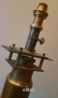 Antique Grand Microscope Solaire Laiton Large Solar XIX 19e Scientifique Ancien