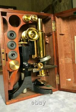 Antique J. Swift & Son Ltd Brass Microscope with Roller-stage, circa 1890, Cased