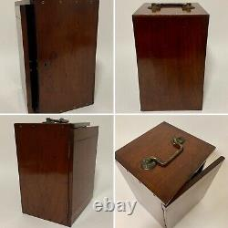 Antique Lacquered Brass Compound Microscope by Henry Crouch in Box with Lenses