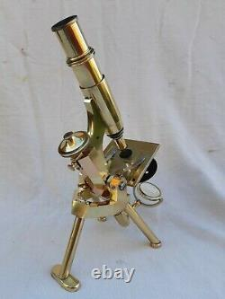Antique Lacquered Brass Microscope By Swift Good Working Order