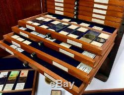 Antique Large Mahogany Microscope Slide Collectors Cabinet / Box With 350 Slides
