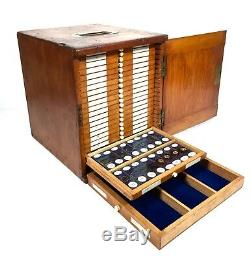 Antique Large Wooden Microscope Slide Collectors Cabinet / Box With 470 Slides