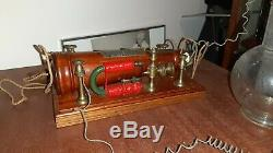 Antique MEDICAL ELECTROTHERAPIE CONICAL WOOD INDUCTION COIL GRIGG S 1873 SCIENCE