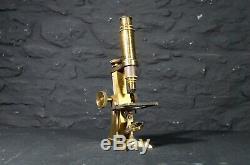 Antique M. Pillischer Brass Field Microscope in Wooden Case Scientific Science