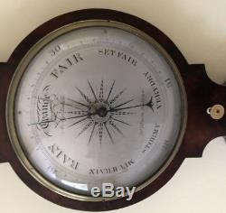 Antique Mahogany 10 inch 4 Dial Barometer By A Martinelli, Boro