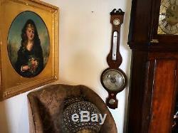 Antique Mahogany Banjo Wheel barometer clean & working order