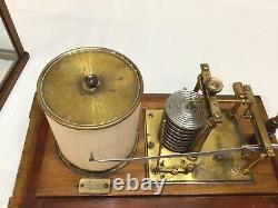 Antique Mahogany Cased Lucking Birmingham Barograph Good Working Order