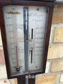 Antique Mahogany Stick Barometer By W Wright Of Ongar, Essex