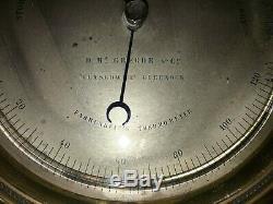 Antique Marine Barometer / Thermometer, McGregor Greenock, Scotland, Nautical