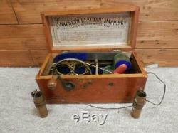 Antique Medical Doctors Quack Tool Magneto-Electric Machine In Wooden Box