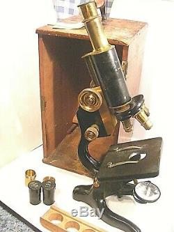 Antique Microscope Watson & Sons Wooden Case