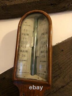Antique Oak Stick Barometer By W B Lake Of Romford