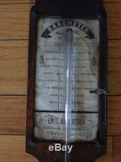 Antique Oak Stick Barometer Emil Andersson Stockholm Scientific Instrument 19thC
