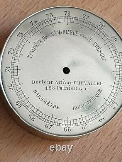 Antique Pocket Barometer By Chevalier Palais Royal Silver engraved dial superb