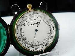 Antique Pocket Compensated Barometer in Case c. 1900