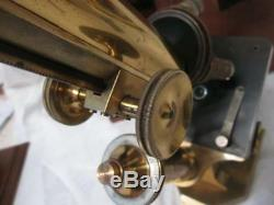 Antique R & J Beck of London All Brass Continental Style Microscope c1905 Cased