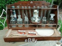 Antique Scientific Chemistry Lab Set Wooden Stand War Department Arrow C 1930's