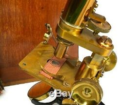 Antique'Society of the Arts' microscope, lacquered brass, case, accessories