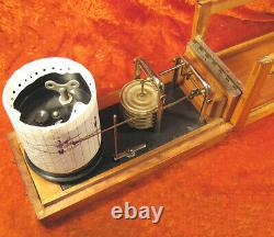 Antique Soviet genuine Barograph Air Pressure Recording 1953 Wooden Body USSR