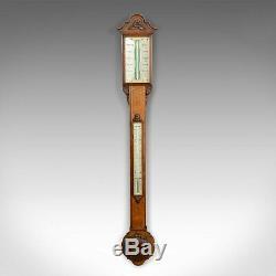 Antique Stick Barometer, Davis Leeds, English, Oak, Scientific Instrument c. 1830