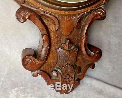 Antique Very Large Carved Oak Banjo Aneroid Barometer- 34 long- 5.5 KG weight