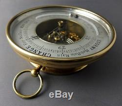 Antique Victorian Brass Aneroid Barometer 7 Silver Dial