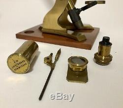 Antique Victorian Brass Bar Limb Microscope J. H. Steward London Box & Accessories
