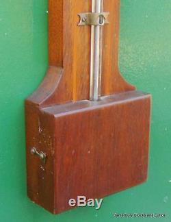 Antique Victorian English Georgian Style Mahogany Stick Barometer