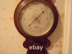 Antique Victorian Large Aneroid Barometer & Thermometer Oak Banjo Type C-1900s