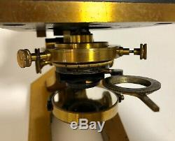 Antique Victorian R & J Beck Ltd Brass Continental Microscope with Lenses in Box