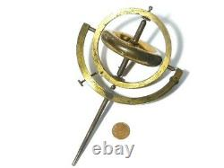 Antique Victorian Solid Brass Scientific Instrument Gyroscope 8 tall Working