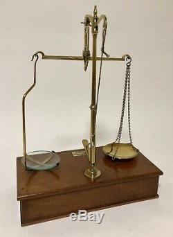Antique Victorian Travelling Brass Apothecary Chemist Scales & Weights in Box