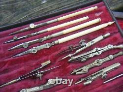 Antique Vintage Drawing Instruments Cased