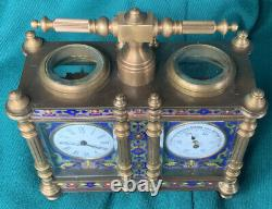 Antique/Vintage Small Cloisonné Enamel & Brass Dual Carriage Clock/Barometer