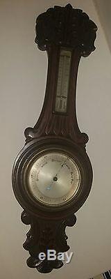 Antique Vintage Wood Victorian Banjo Barometer