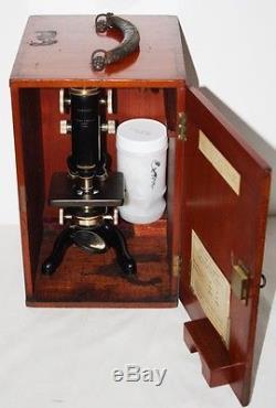 Antique WATSONS BRITISH Service Microscope in Original Case c1935 PL1112