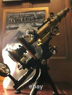 Antique W. Watson & Sons Brass Edinburgh Royal Monocular Microscope c1915, Cased