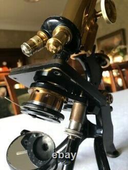 Antique W. Watson & Sons Ltd Brass Edinburgh Stand-F Microscope c1918, Cased