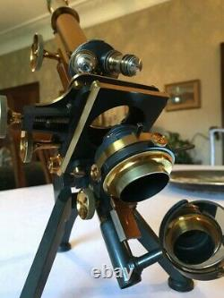 Antique W. Watson & Sons Ltd Brass Edinburgh Stand-H Microscope c1898, Cased
