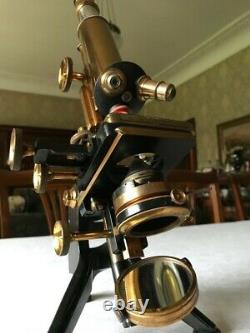 Antique W. Watson & Sons Ltd Brass Edinburgh Stand-H Microscope c1918, Cased