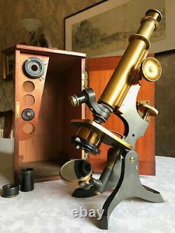 Antique W. Watson & Sons Ltd Brass Histology Monocular Microscope c1898, Cased