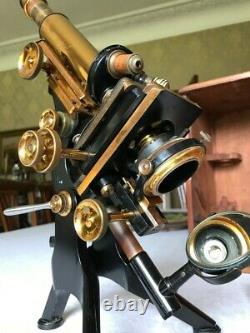 Antique Watson Brass Research Microscope (Variation of Edinburgh H) c1921, Cased