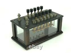 Antique Welch 12 Knob Resistance Box Electrical Variable Resistor with Glass Sides