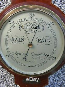 Antique Wheel Barometer Wooden Inlaid F. Robson & Co