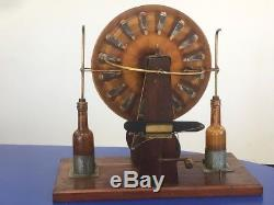 Antique Wimshurst Electrostatic Generator Machine With 2x Leyden Jar