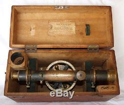 Antique Wm H Pfister Brass 13 Telescopic Level Transit Orig Box Cincinnati Ohio