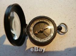 Antique c 1910 Negretti Zambra Prospector's Compass 12777. Rare. Case