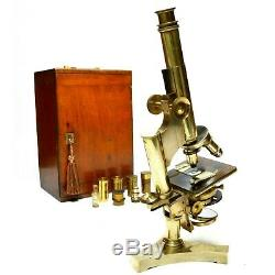 Antique compound brass microscope, R & J Beck of London, 1890s, cased