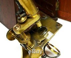 Antique compound microscope, Edmund Wheeler of London, circa 1860